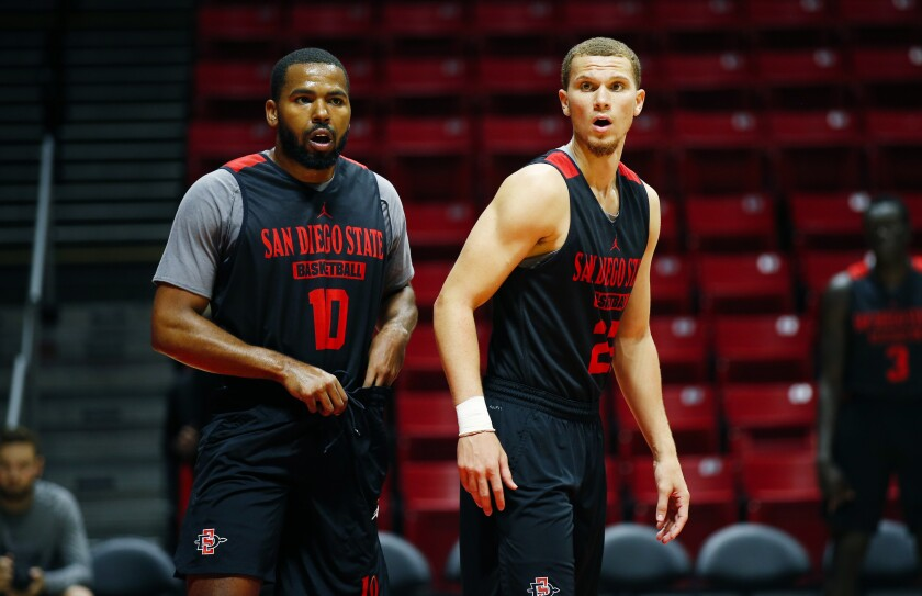 SDSU guard Malachi Flynn (right) was named Mountain West defensive player of the year by the coaches but tweeted that teammate KJ Feagin (left) deserved it.