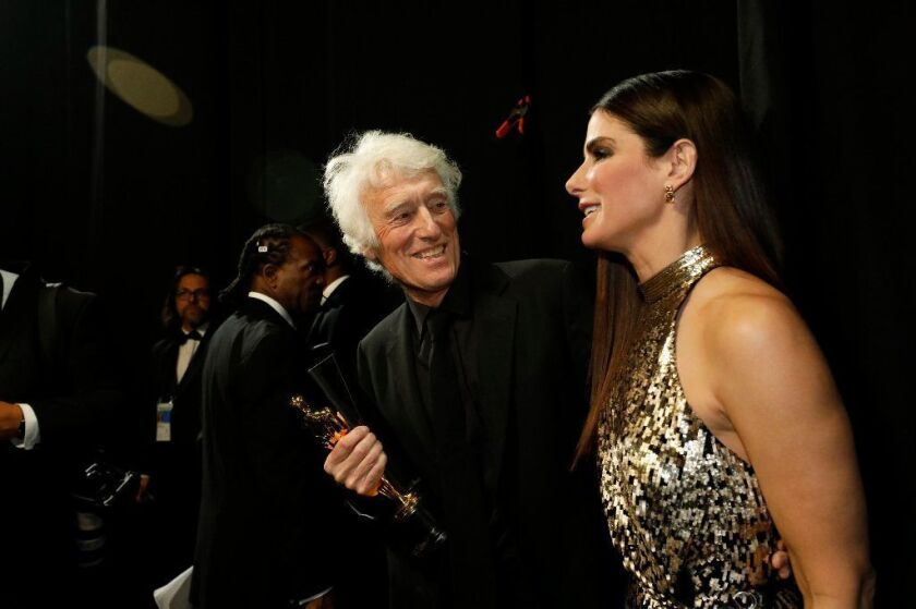 Roger Deakins with the Oscar for best cinematography at the 90th Academy Awards.