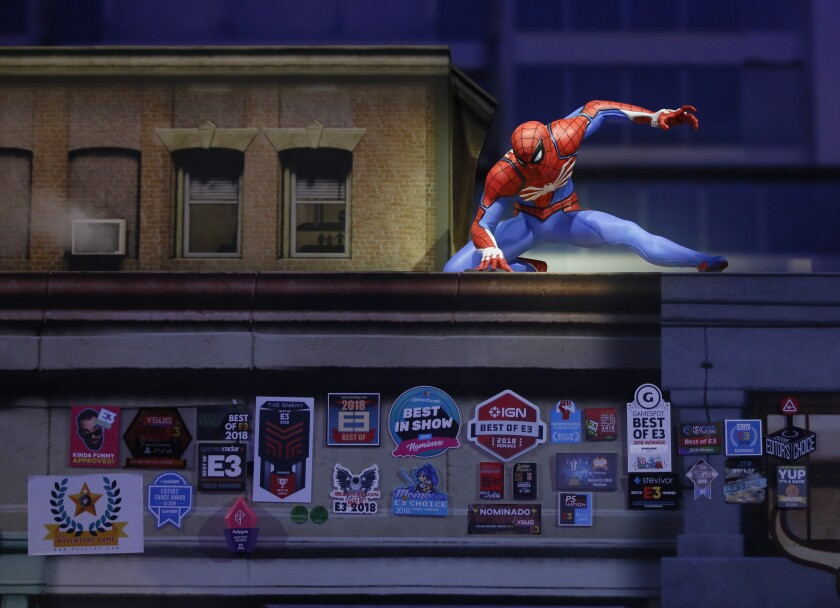 In this Thursday, June 14, 2018, a Spider-Man statue is awarded at the 24th Electronic Entertainment