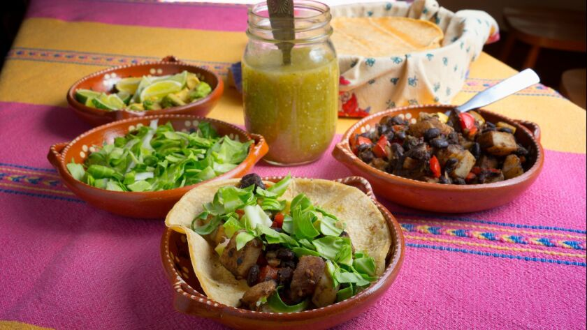 Veggie tacos with tomatillo salsa, prepared at the Olivewood Gardens and Learning Center.