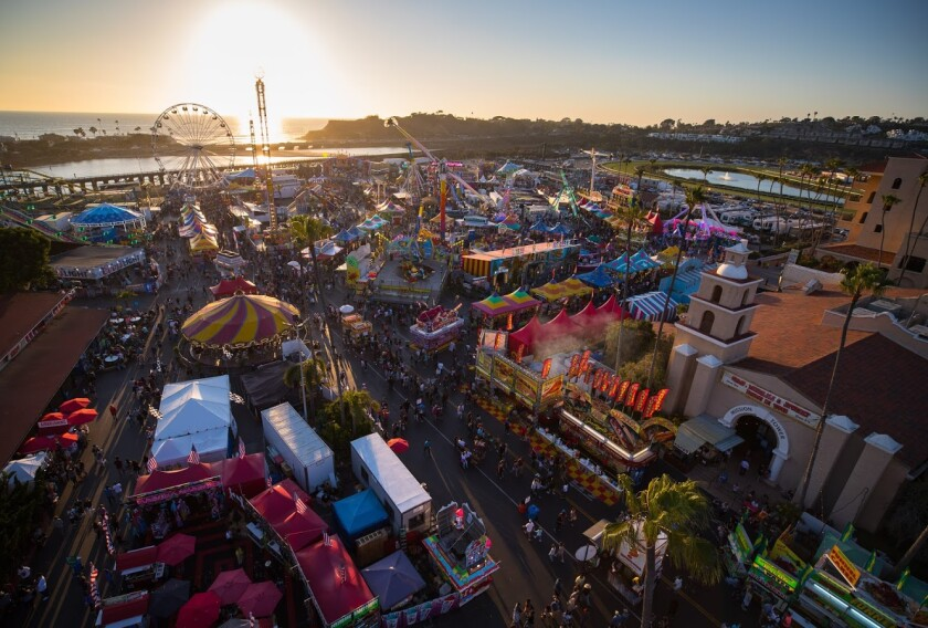 An aerial view of the San Diego County Fair at sunset.