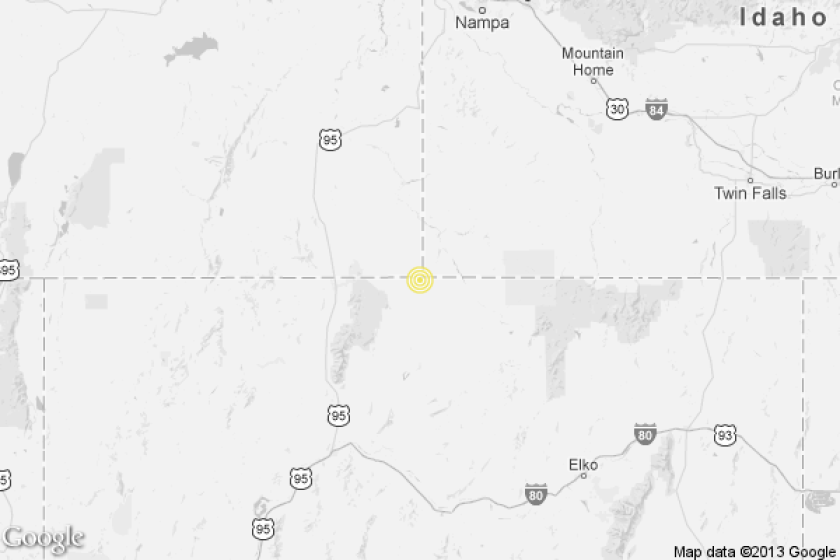 A map showing the location of the epicenter of Thursday afternoon's quake near McDermitt, Nev.