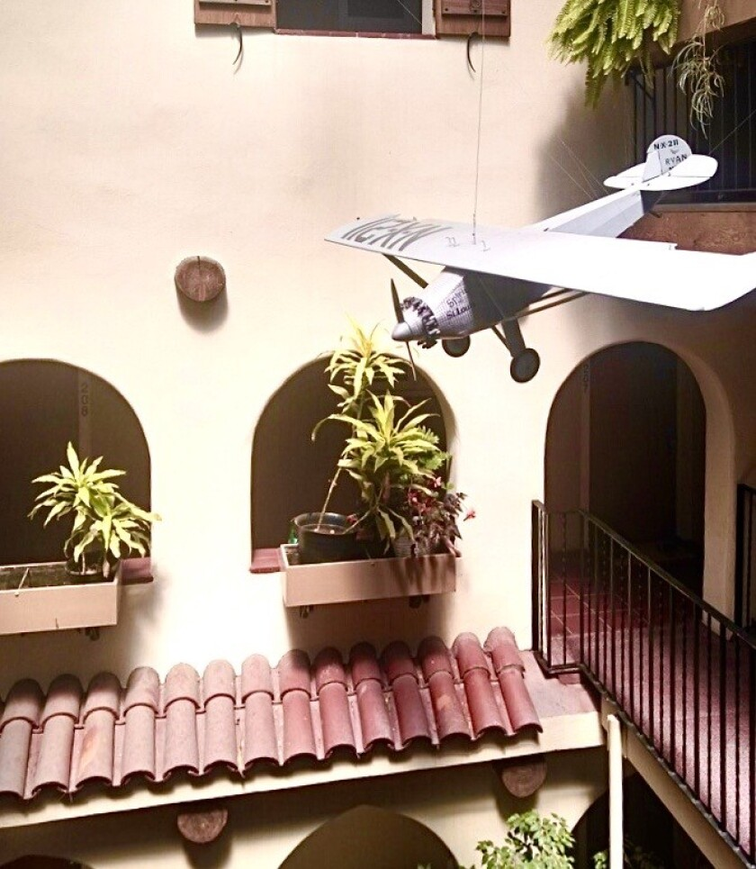 Model of Lindbergh plane at The Palomar apartment building where he stayed in 1927.