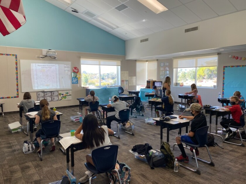 Students in class at Skyline School in Solana Beach.