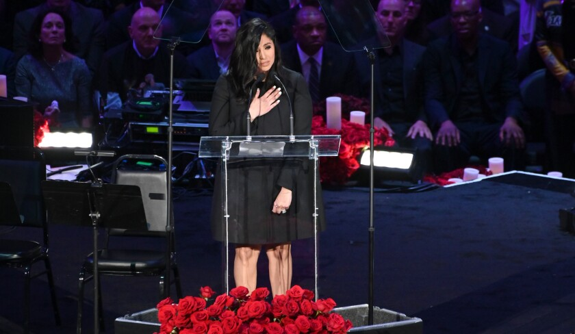 LOS ANGELES, CA., ÊÊVanessa Bryant speaks at the Kobe & Gianna Bryant Celebration of Life on Monday at Staples Center on Monday 24, 2020 (Wally Skalij / Los Angeles Times)