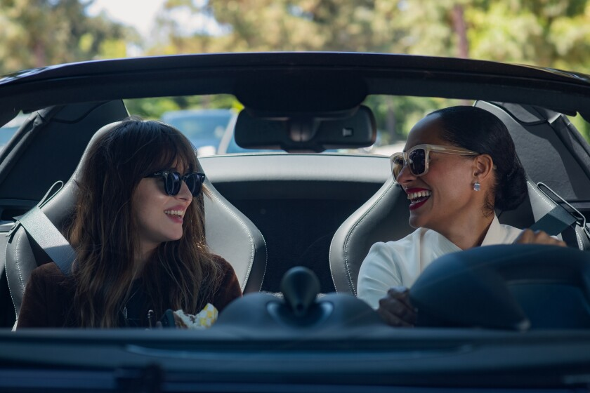 "Dakota Johnson, left,  and Tracee Ellis Ross in ""The High Note."""