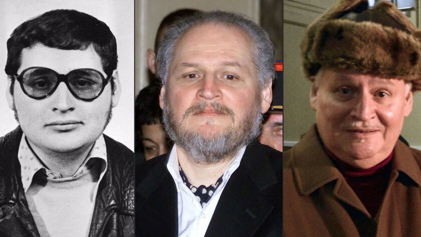 A combination of file pictures shows Ilich Ramirez Sanchez, better known as Carlos the Jackal, from left, in the early 1970s; arriving to face trial in Paris in 2001; and arriving at court again in Paris in 2013.