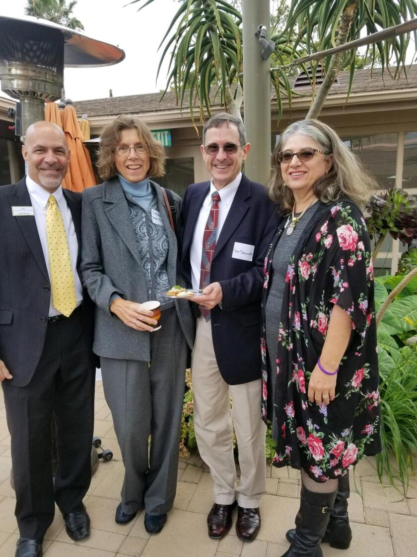 Monarch Cottage director of business development Sam Baum, panelists Cordula Dick-Muehlke, Dan Sewell and Isabel Lozano discuss coping and caring with Alzheimer's disease on May 1, 2018 at La Jolla Community Center.