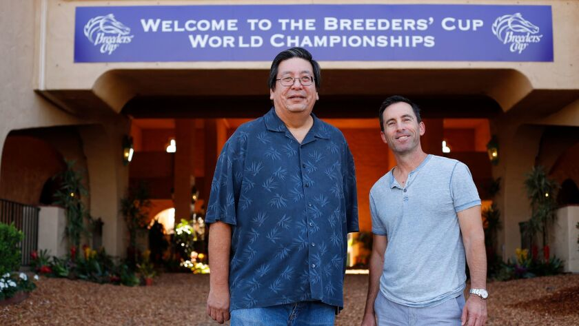 Jon Lindo, left, and Jeff Bloom own a horse that will be racing in Breeders' Cup at Del Mar.