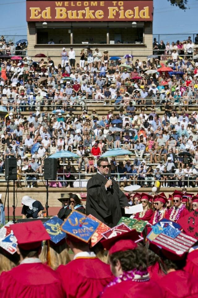 Principal Rob Coppo speaks at the Torrey Pines High School 2017 Commencement