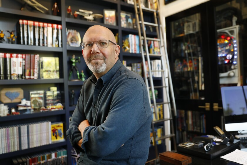 """Carnival Row"" showrunner Marc Guggenheim in his home office"