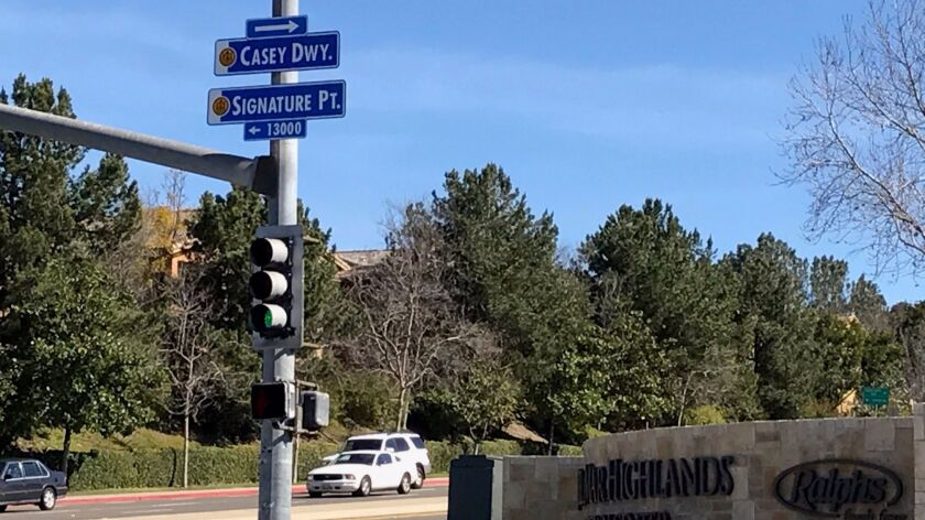One of the new street signs at Del Mar Highlands Town Center.