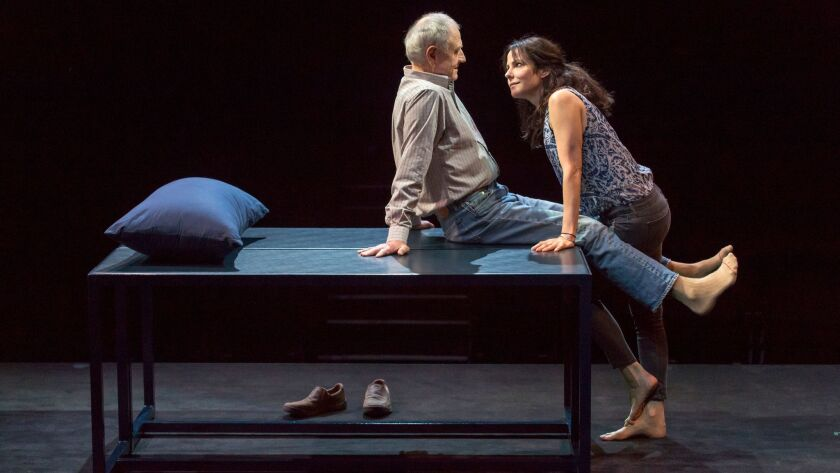 """Denis Arndt and Mary-Louise Parker in """"Heisenberg"""" at the Mark Taper Forum."""