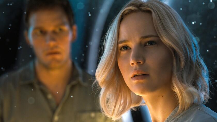 "Chris Pratt as Jim Preston and Jennifer Lawrence as Aurora Lane in ""Passengers"" Credit: Sony Pict"