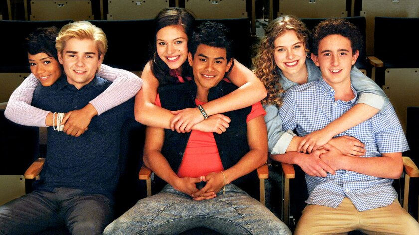 """From left: Taylor Russell McKenzie, Dylan Everett, Alyssa Lynch, Julian Works, Tiera Skovbye and Sam Kindseth play the cast of """"Saved By the Bell."""""""