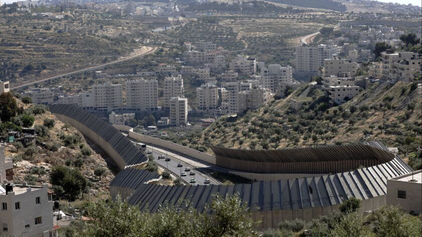 A general view of a Israeli separated barrier between the Palestinian town of Biet Jala and Jerusalem on May 14.