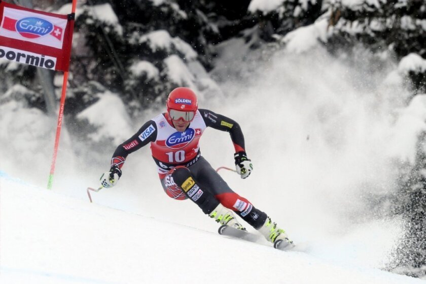 Bode Miller competes during the Audi FIS Alpine Ski World Cup men's downhill event.
