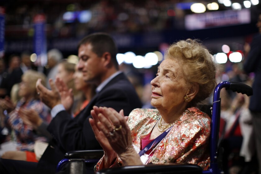 Missouri delegate Phyllis Schlafly at the Republican National Convention in Cleveland in July. This year she released a book making the case for a Donald Trump presidency.