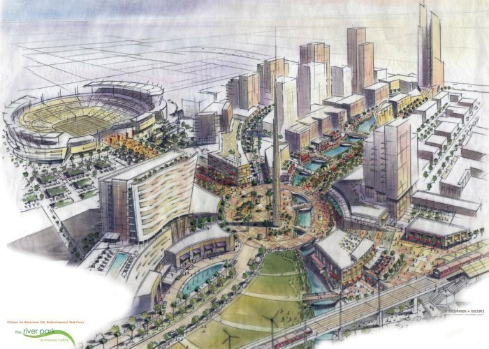 Proposed on-site redevelopment of Qualcomm Stadium that never happened.