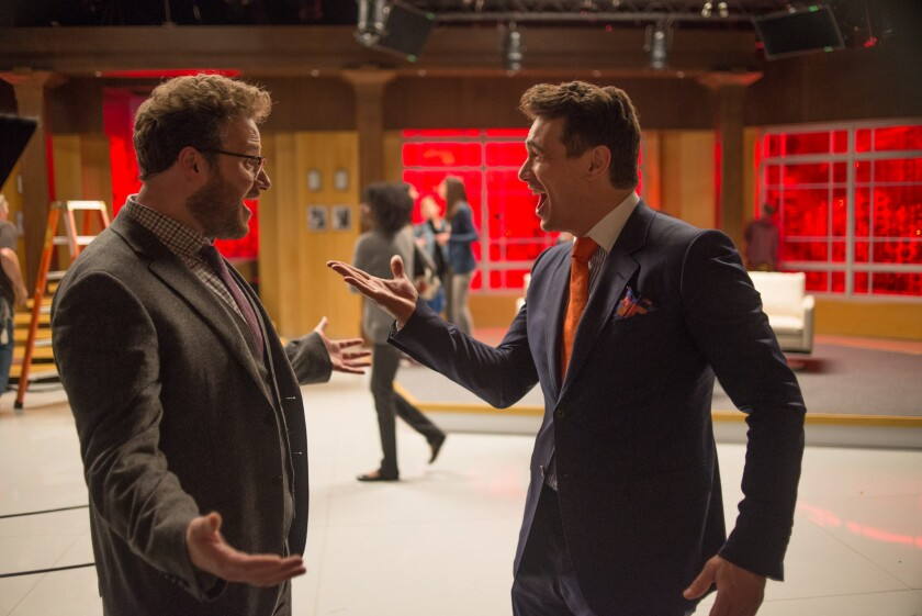 """Sony Pictures' """"The Interview,"""" directed by Seth Rogen and longtime collaborator Evan Goldberg, centers on a CIA plot to kill North Korean leader Kim Jong Un via a bumbling American talk show host, played by James Franco, and his producer, played by Rogen."""