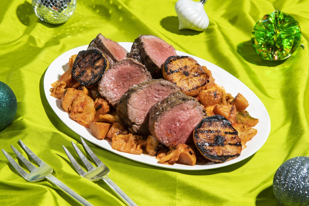Grilled Whole Beef Tenderloin with Smoky Persimmon Kimchi