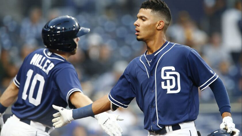 Padres third baseman Tucupita Marcano (right) low-fives Owen Miller after hitting an RBI double in the first inning on Sept. 27, 2018, at Petco Park.