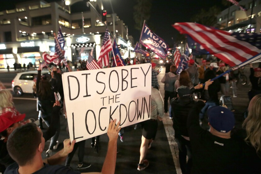 """Disobey the lockdown"" reads a sign held by a protester, among a crowd of demonstrators carrying U.S. and Trump flags."