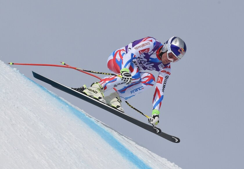 France's Alexis Pinturault speeds down the slope during an Alpine ski, men's downhill training, in Chamonix, France, Thursday, Feb. 18, 2016. (AP Photo/Pier Marco Tacca)