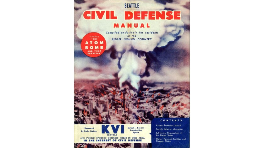 A 1950's civil defense manual depicting an atomic bomb exploding over downtown Seattle.