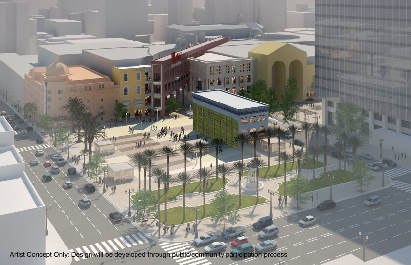 Horton Plaza Park as it might look under a plan to demolish the former Robinson's department store, retain the historic park and fountain and add a new public open space.