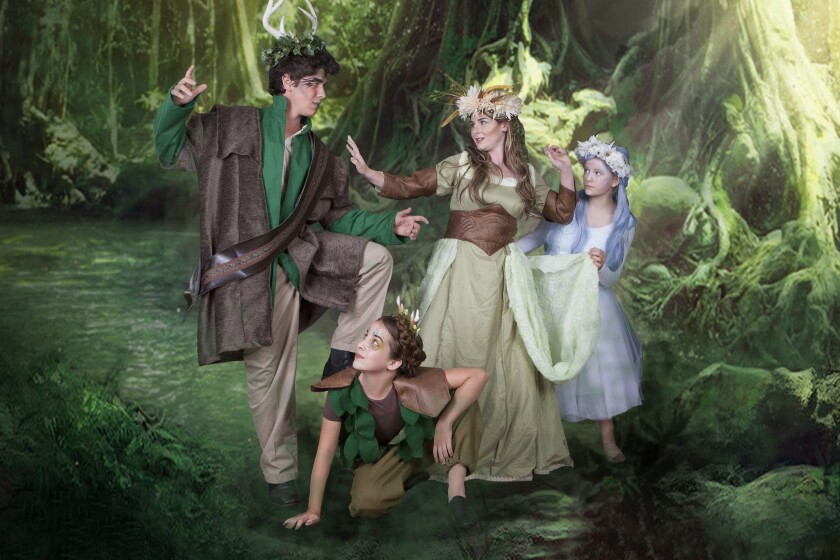 The Theatre School @ North Coast Repertory Theatre presents William Shakespeare's A Midsummer Night's Dream. (Above) Cast member Gabe Krut, Wendy Maddox, Gillian Shapiro, Charoline Salel