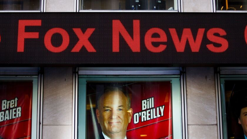 epa05913938 A view of a sign promoting Bill O'Reilly's show at Fox News Channels' studios following