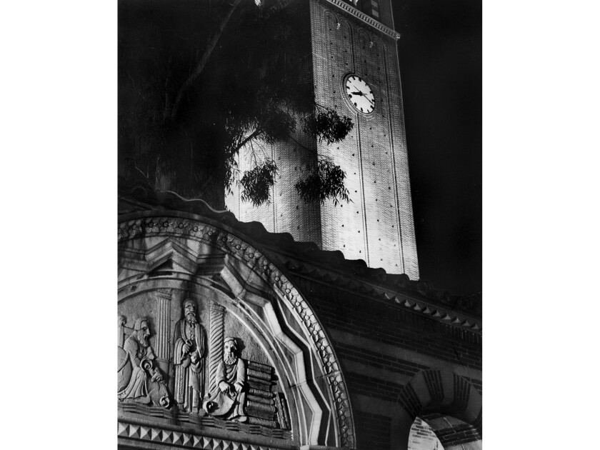 Nov. 18, 1955: Night view of the Mudd Memorial Hall of Philosophy and Library on the campus of USC.