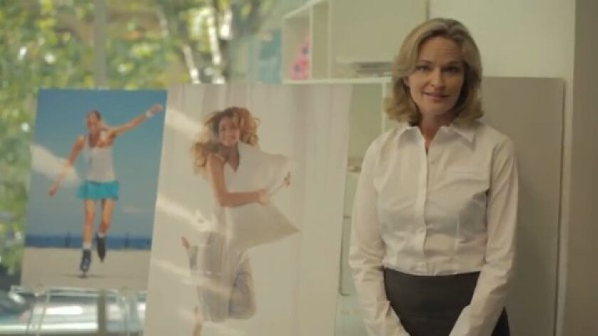 """A scene from an """"apology"""" video from Bodyform, a feminine hygiene products company."""