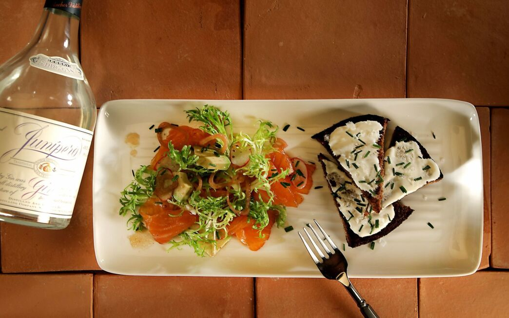 Gin-cured salmon and avocado salad