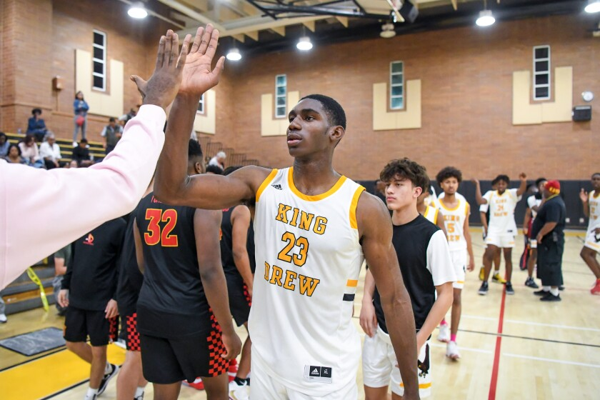 King/Drew's Fidelis Okereke had 26 points, 14 rebounds and three blocks in a 55-45 win over Hillcrest on Thursday in the state playoffs.