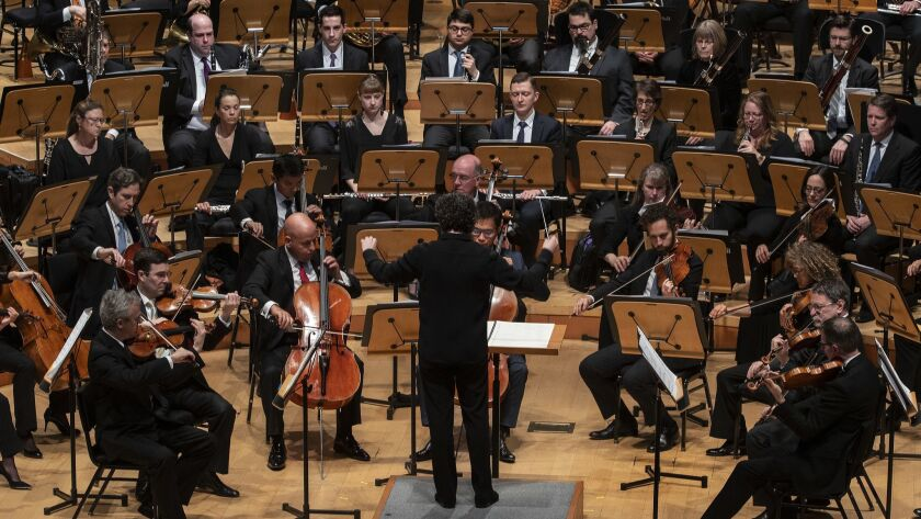 LOS ANGELES, CA - APRIL 13, 2018: Conductor Gustavo Dudamel leads the Los Angels Philharmonic in Sal