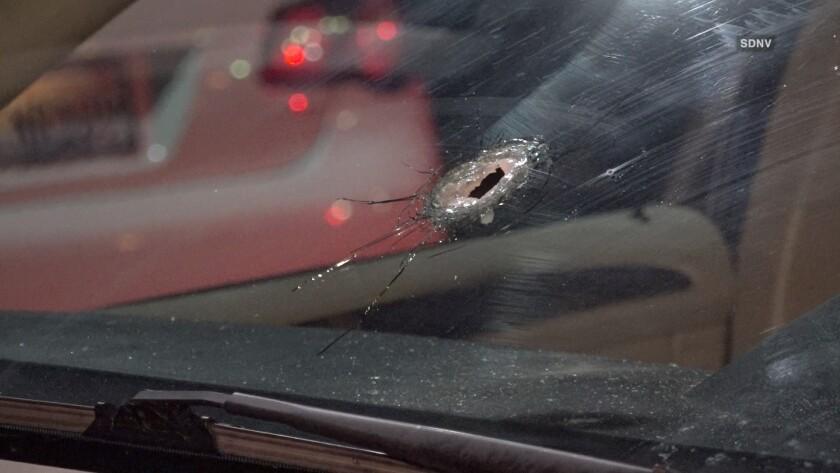 A gunman fired through a car windshield in San Ysidro, injuring the driver.
