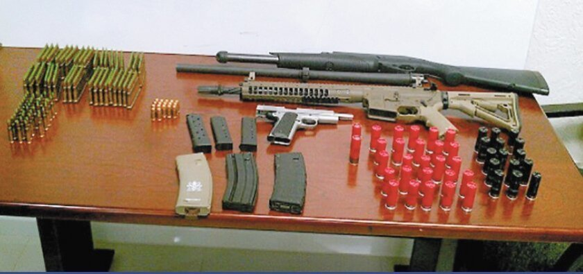 The weapons and ammunition confiscated from Andrew's Tahmooressi's vehicle.