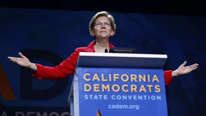 SAN FRANCISCO - JUNE 1, 2019: Elizabeth Warren addresses the California state Democratic Party conve