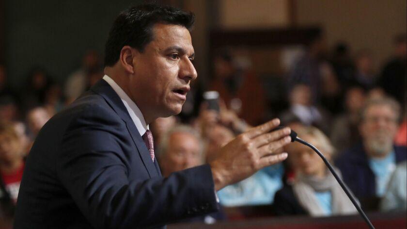 LOS ANGELES, CA-MAY 2, 2018: Los Angeles City Councilman Jose Huizar addresses fellow council membe