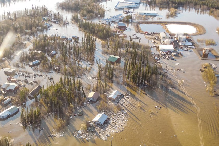 Floodwaters from the Yukon River have inundated the town of Galena, Alaska.
