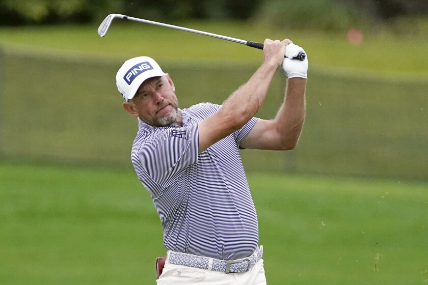 Lee Westwood hits a shot from the 16th fairway during the third round of the Arnold Palmer Invitational on March 6, 2021.