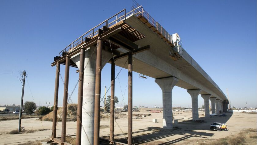 This 2017 file photo shows an elevated section of high-speed rail construction in Fresno.