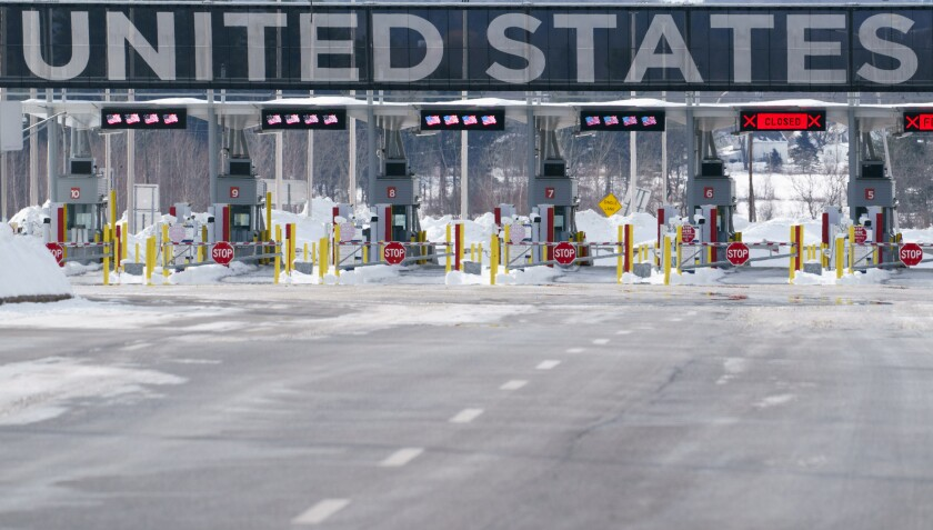 This Feb. 12, 2021, file photo shows the border crossing into the United States in Lacolle, Quebec. The United States Government on Wednesday, July 21, 2021, extended the closure of the land borders with Canada and Mexico to non-essential travelers until at least Aug. 21. (Paul Chiasson/The Canadian Press via AP, File)