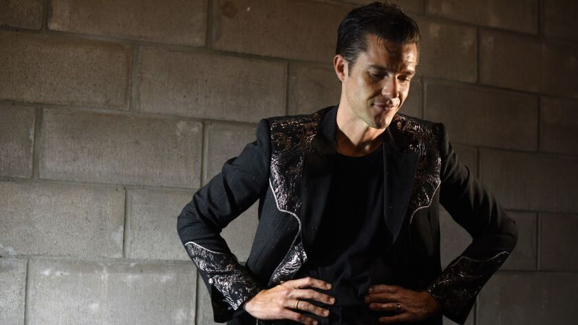 """The Killers' lead singer, Brandon Flowers, photographed in New York in 2017, sings about a variety of hot-button social and political issues in the band's latest song, """"Land of the Free."""""""
