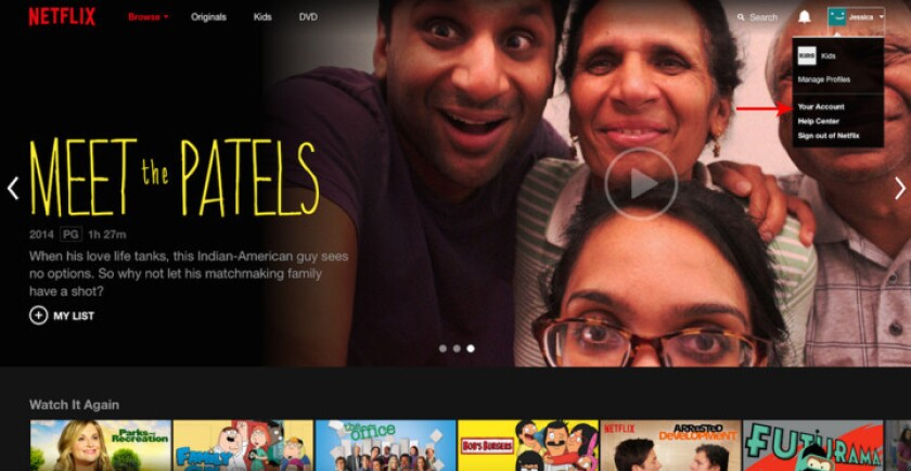 The main landing page for Netflix.