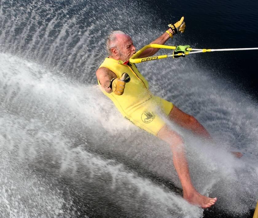 """Banana"" George Blair waterskiing barefoot in 2003; he died Oct. 17 at 98."