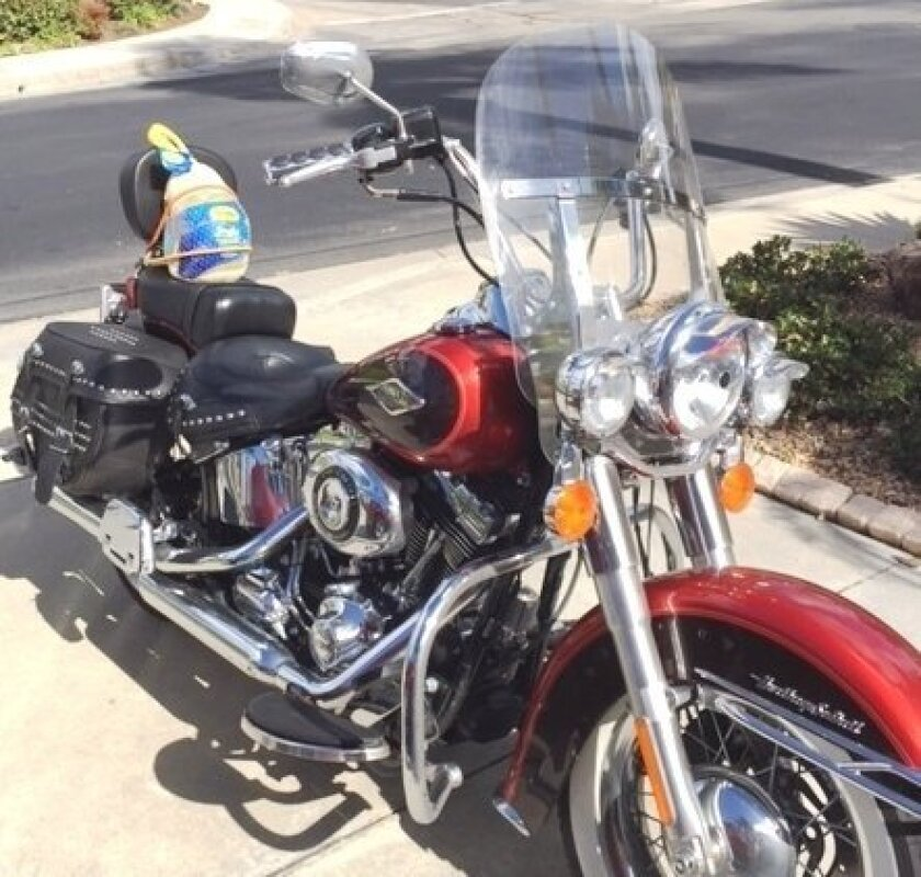 """This isn't the case of an unlucky turkey that tried to cross the road. It's the first San Diego Harley-Davidson """"Turkey Run"""" to donate food to the San Diego Food Bank."""