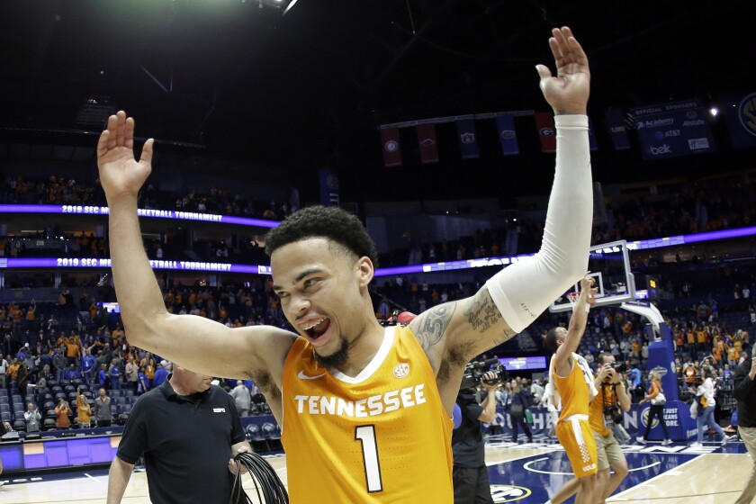 FILE - In this March 16, 2019, file photo, Tennessee guard Lamonte Turner (1) celebrates after making a 3-pointer with 26 seconds remaining to defeat Kentucky 61-59 at the Southeastern Conference Tournament in Nashville, Tenn. Turner has shown a flair for the dramatic for much of his college career while delivering some of the most memorable moments in this program's recent history. (AP Photo/Mark Humphrey, File)